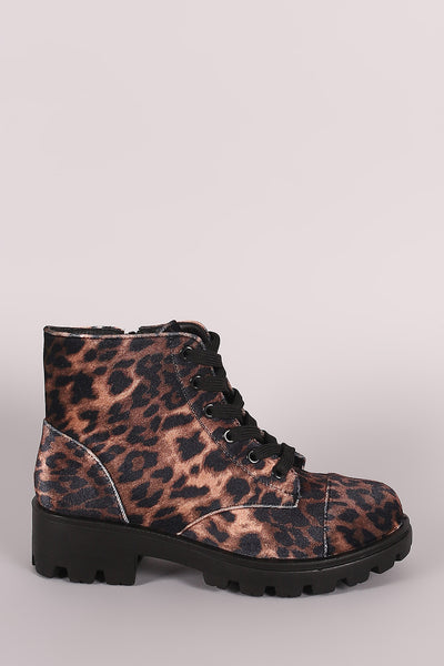 Combat Ankle Boots For Women By Bamboo | Shop Pretty Girl Women's Leopard Velvet Lace-Up Combat Ankle Boots  Round Toe Silhouette Lace-up And Low Block Heel A Lightly Cushioned Insole And Side Zip-up Closure Combat Ankle Boots For Women