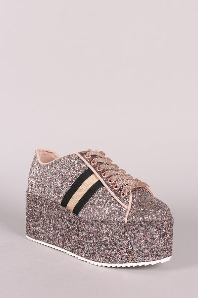 Bamboo Glitter-Encructed Stripe Lace-Up Flatform Sneaker