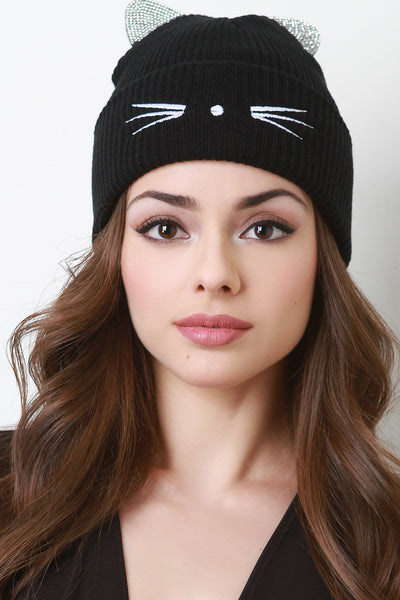 Rhinestone Embellished Cat Ears Beanie