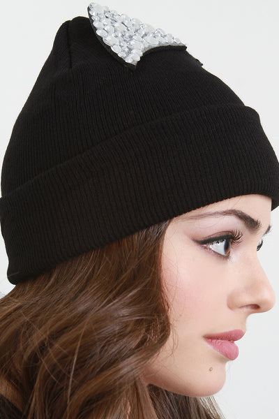 Faux Crystal Embellished Cat Ears Beanie