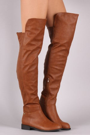 Wild Diva Lounge Studded High-Low Over-The-Knee Riding Boots