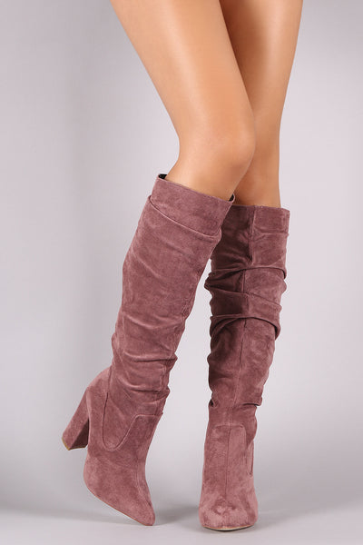Chunky Heeled Knee High Boots For Women By LUD| Fashion Women Suede Pointy Toe Chunky Heeled Knee High Boots A Room of FASHION Suede Pointy Toe Chunky Heeled Slouchy Shaft Pullon Knee High Boots For Women