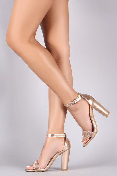 Sole Chunky Heels For Women By Qupid | Women Fashion Rhinestone Metallic Ankle Strap Single Sole Chunky Heels For Women