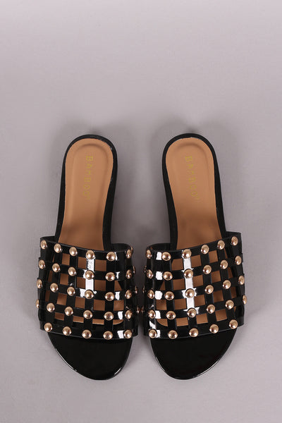 Studded Grid Caged Slide Sandals For Women By Bamboo | Shop Women's Fashion Flat Sandals  Patent Vegan Leather Grid Caged Vamp With High Polished Studs Accent Slide Style With Soft Insole For Comfort