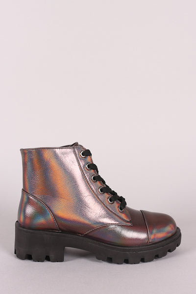 Combat Ankle Boots For Women By Bamboo | Holographic Lace-Up Combat Ankle Boots A Women's Holographic Military Lace Up Buckle Combat Boots Ankle