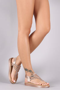 Bamboo T-Strap Grommet Strappy Thong Flatform Sandal