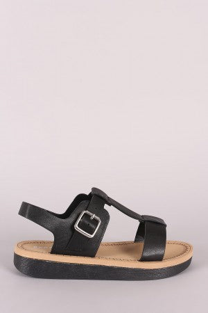 T-Strap Flatform Sandal For Women By Bamboo | Women Fashion Flat Sandal An Open Toe Silhouette T-strap Adjustable Instep Buckle Strap Closure Sandal