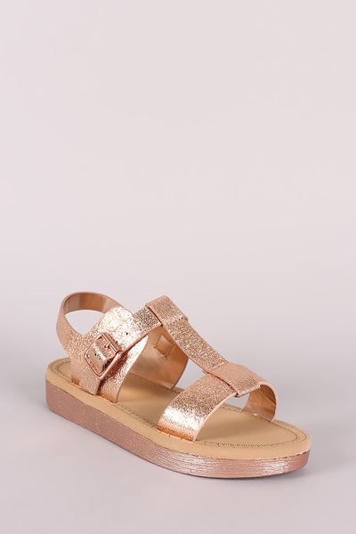 Cracked Metallic T-Strap Flatform Sandal For Women By Bamboo | Shop Women's Fashion lovely A Adjustable Instep Buckle Strap Closure Open Toe Silhouette, T-strap Sandal For Women