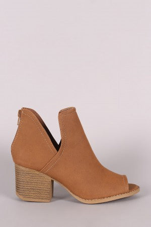 Chunky Heeled Booties For Women By Qupid | Shop Women's Fashion Lovely Stylish Nubuck Split Shaft Peep Toe Silhouette Nubuck Chunky Stacked Heeled Booties