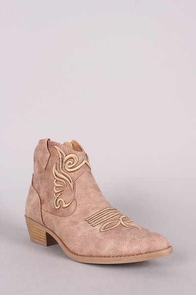 Low Heel Ankle Boots For Women By Qupid | Women Low Heel Ankle Boots Embroidery Stitchwork Distressed Pointy Toe Silhouette Ankle Boots