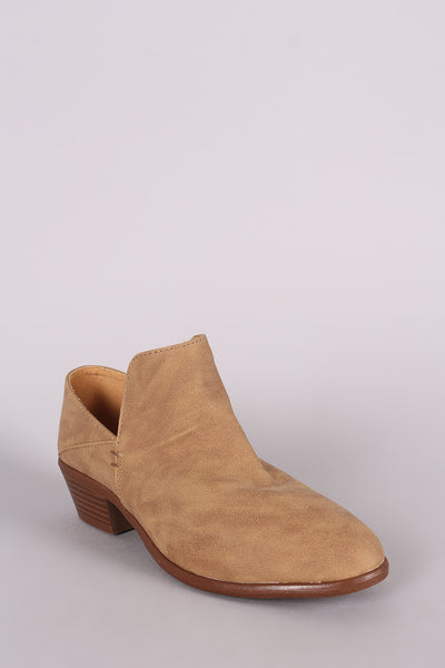 Distressed Nubuck Loafer Booties For Women By Qupid | Shop Women's Fashion Lovely Stylish Boots Almond Toe Silhouette High Low Collar Low Stacked Heel Distressed Nubuck Inspired Loafer Booties