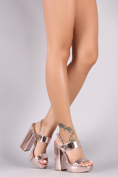 Qupid Mirrored Metallic Open Toe Chunky Platform Heel