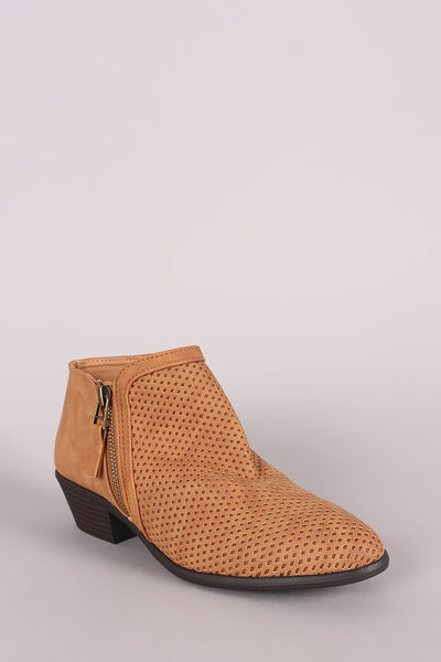 Perforated Zip-Up Booties For Women By Qupid | Shop Women's Fashion Lovely Stylish Booties Almond Toe Silhouette And Low Stacked Heel Perforated Zip-Up Booties