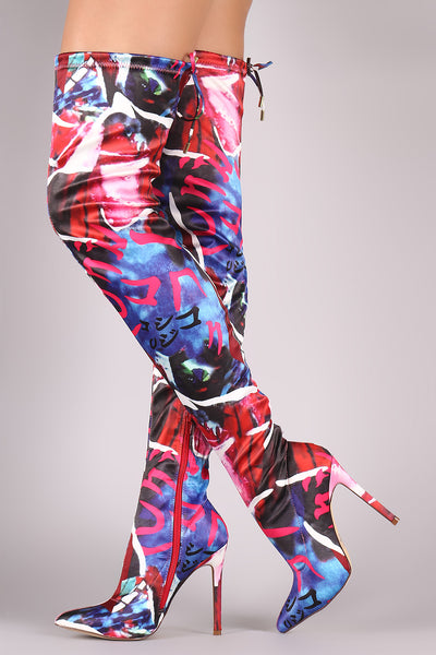 Liliana Abstract Pointy Toe Drawstring-Tie Elastane OTK Boots