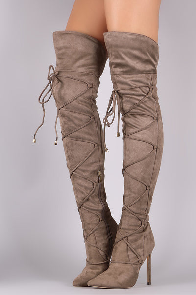 Liliana Suede Pointy Toe Lace-Up Stiletto Over-The-Knee Boots