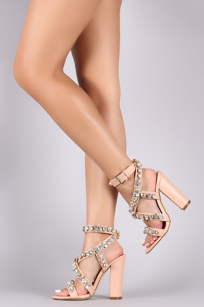 Liliana Rhinestone Jewels Crisscross Open Toe Chunky Heels