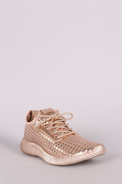 Liliana Textured Metallic Holographic Lace Up Rigged Sneaker