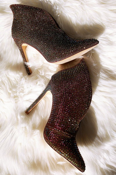 Stunning Stiletto booties For Women By Liliana | Shop Women's Fashion Shimmery Fabric Upper With Sparkling Rhinestones Throughout Pointy Toe Silhouette Split-front vamp Rhinestone-Embellished Split-Front Stiletto Booties