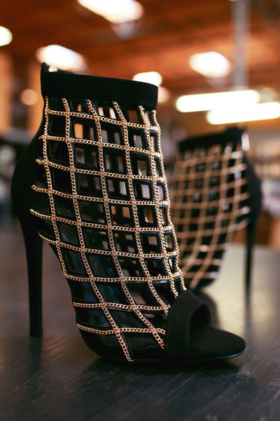 Suede Chain Caged Cutout Peep Toe Stiletto Heel