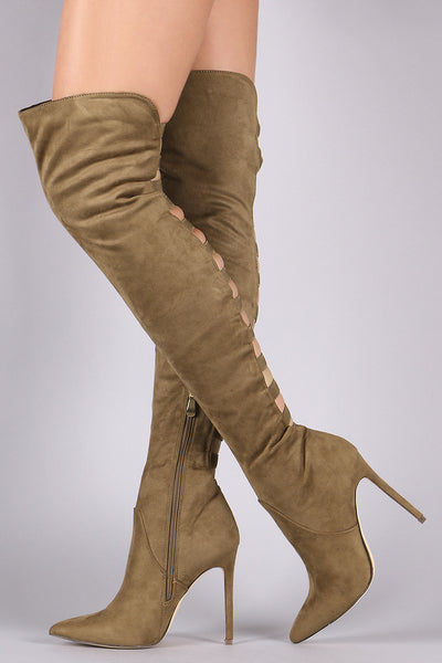 Suede Back Caged Over-The-Knee boots For Women By Liliana | Shop Women's Fashion Pointy Toe Silhouette Elasticized Straps Slim Stiletto Over-The-Knee Boots