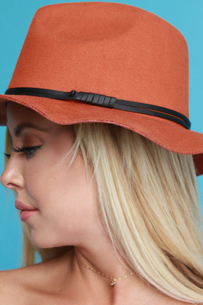 Vegan Leather Cord Floppy Hat