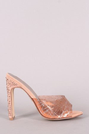 Stylish Rhinestone heels For Women By LUD | Shop Women's Fashion Open Toe Silhouette And Rhinestone Embellished Heel Printed Clear Band Slip On Mule Rhinestone Heel