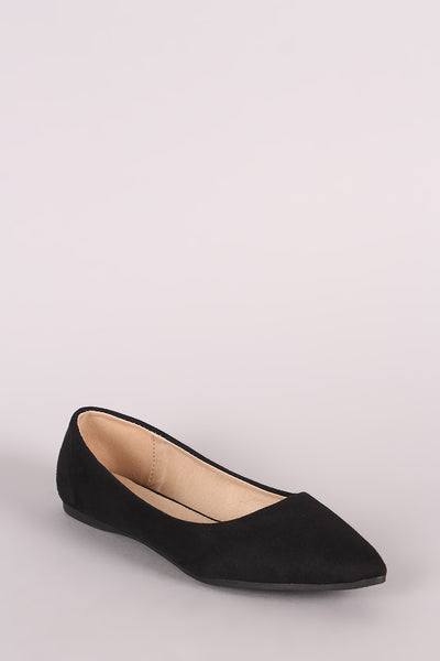 Suede Pointy Toe Ballet Flat