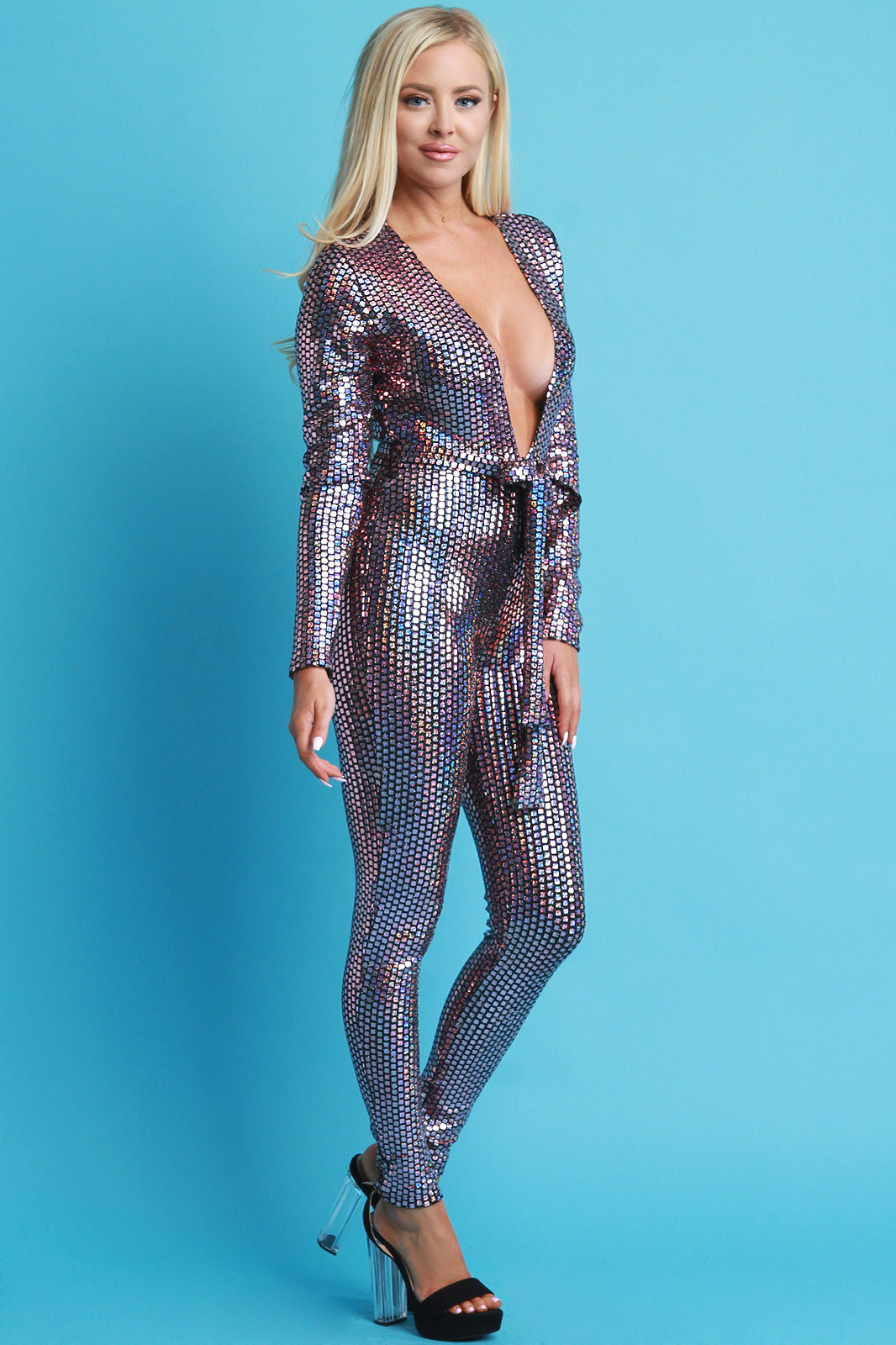 Square Holographic Deep V-Neck Jumpsuit