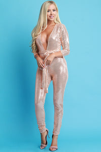 Rose Gold Sequins Deep V-Neck Jumpsuit