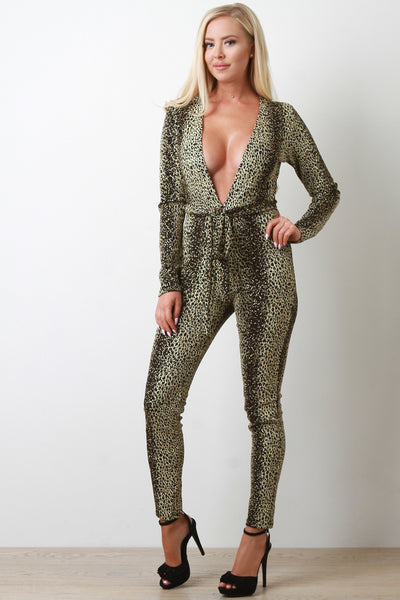 V-Neck Jumpsuit For Women By Bamboo  | Shop Women's Fashion Style Metallic Tinsel Cheetah Deep V-Neck Long Sleeves High Waist Cinched Seam Self-Tie Sash Jumpsuit