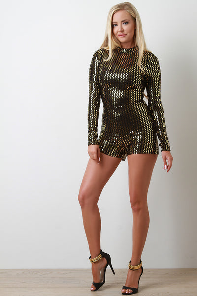 Metallic Sequin Mock Neck Long Sleeve Romper