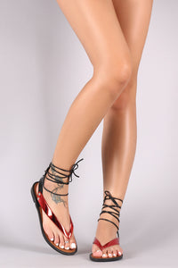 Metallic V-Strap Lace Up Flat Jelly Sandals