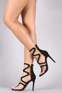 Liliana Suede Scallop Strap Open Toe Stiletto Heels