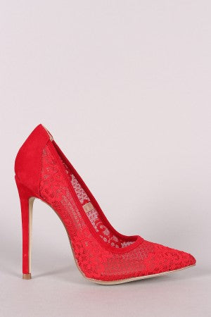 Shoe Republic LA Lace Pointy Toe Stiletto Pump