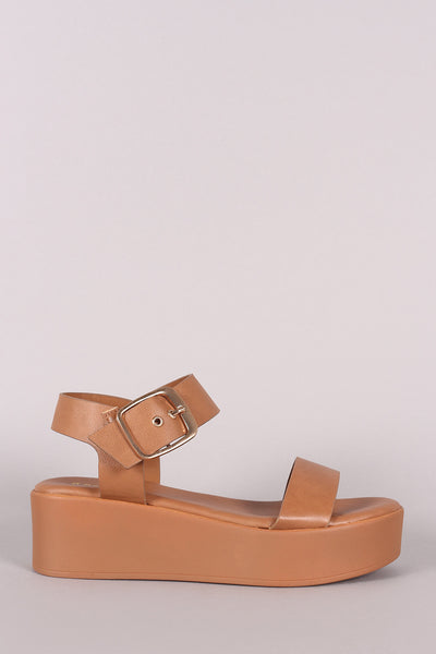 Bamboo Vegan Leather Open Toe Platform Wedge