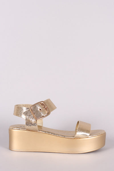 Gold Wedge Heels By LUD | Bamboo Cracked Metallic Leather Open Toe Platform Wedge For Women A Platform Wedge Heel For Women and Adjustable Ankle Strap With Buckle Fastening Sandals Metallic Leather Sandal For Women