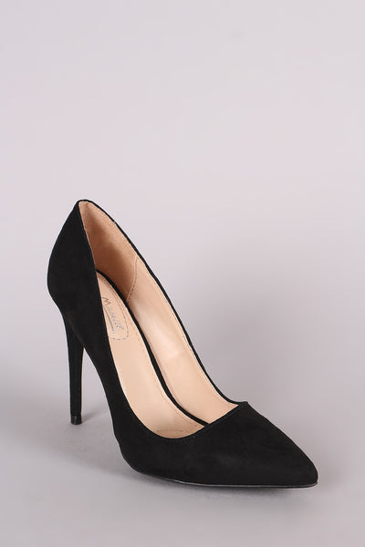 Black High-heel Stiletto Open-toe slip-on Pumps By LUD | Anne Michelle Suede Pointy Toe Stiletto Pump