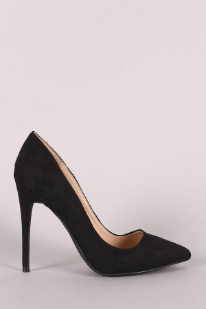 Black High-heel Stiletto Open-toe slip-on Pumps By Vegan Suede | Anne Michelle Suede Pointy Toe Stiletto Pump