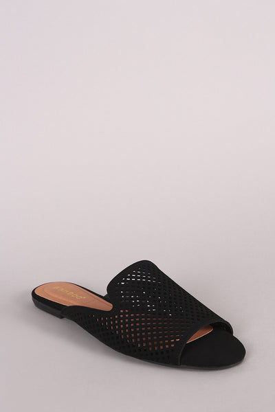 Double Band Slide Sandal For Women By Bamboo | Women Fashion Comfortable Perforated Nubuck Peep Toe Flat Mule Sandal A Vegan Nubuck Leather Asy Slide Style With A Lightly Cushioned Insol