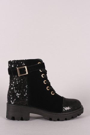 Bamboo Sequin Accent Military Lace-Up Suede Ankle Boots