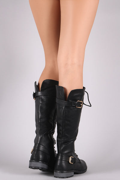 Vegan Leather Buckled Knee High Combat Lace Up Boots