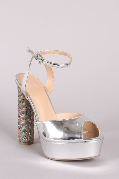 Cylindrical-Heel For Women By LUD | Shop Women's Fashion Lovely Stylish Fashionable Wild Diva Lounge Ankle Strap Patent Rhinestone Cylindrical-Heel