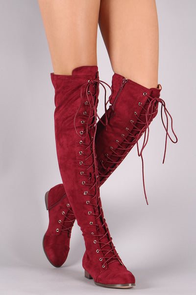 Quilted Nylon Faux Fur Cuff Snow Boots For Women By LUD | Women combat over-the-knee boots Almond Toe Silhouette Lace-up Front And A Low Block Heel Stretchy Lace Up Over The Knee Thigh High Combat Heel Boots