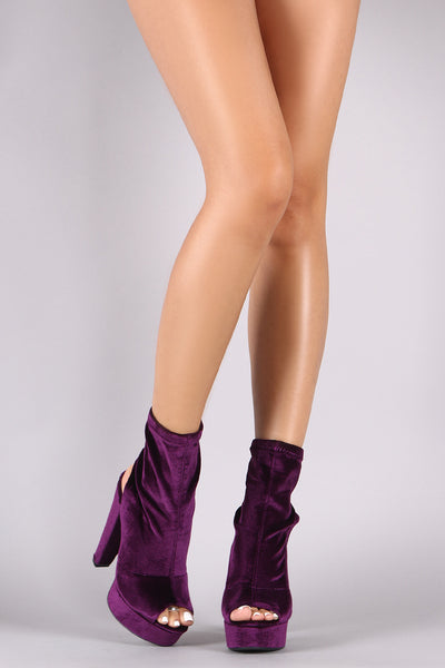 Velvet Fitted Shaft Chunky Platform Booties