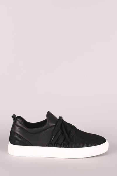 Qupid Leather Lace-Up Netted Low Top Sneaker