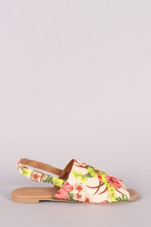 Slingback Flat Sandal For Women By Qupid | Shop Women's Fashion Lovely Stylish Wide Band Floral Fabric Peep Toe Silhouette Adjustable Slingback Buckle Closure Flat Sandal