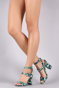 Qupid Leaves Print Double Ankle Strap Chunky Heel