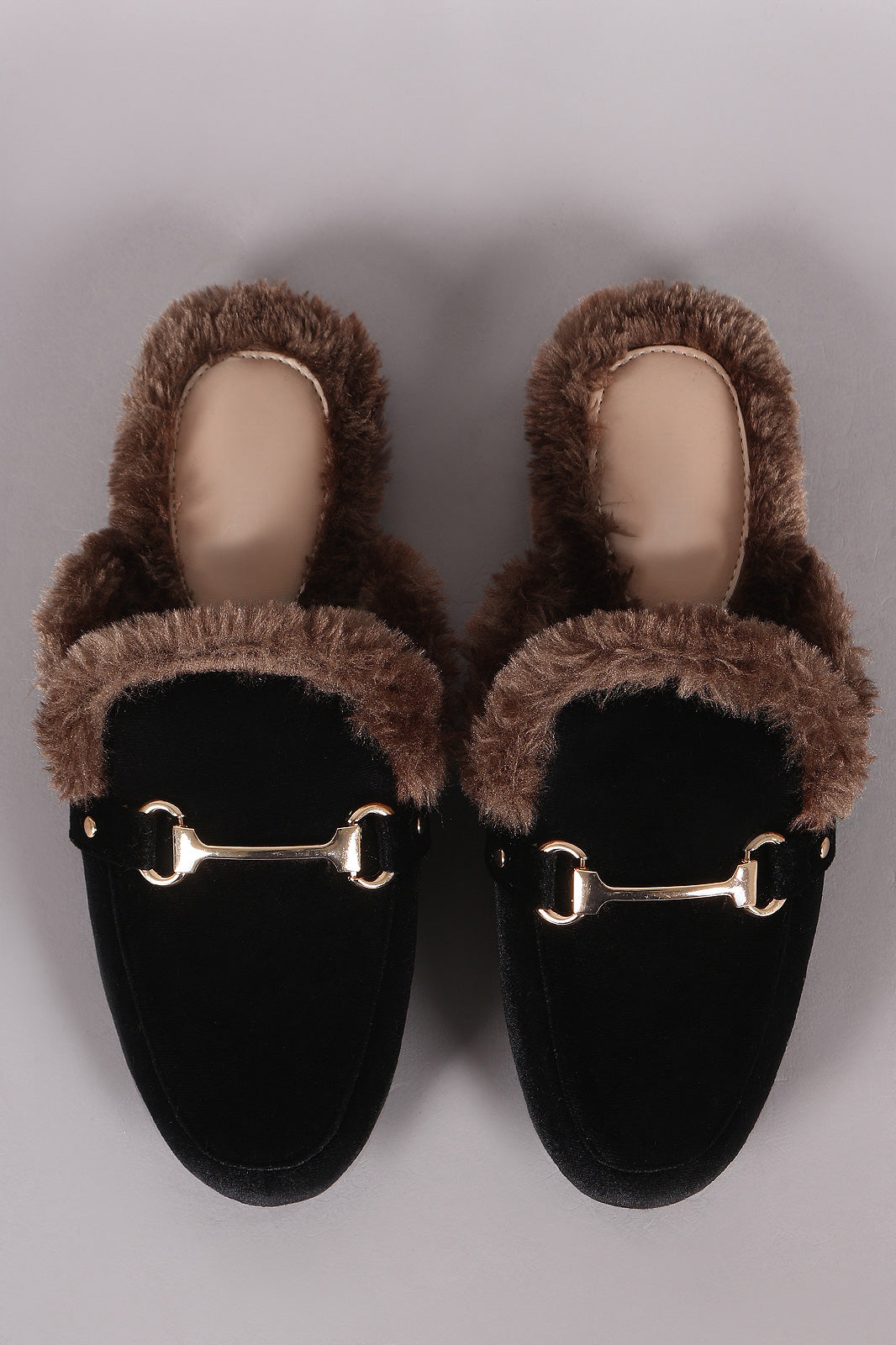 Velvet Horsebit Ornament Fur Lined Slip-On Mules