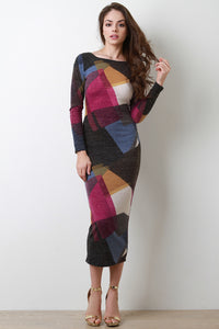 Panel Print Midi Sweater Dress