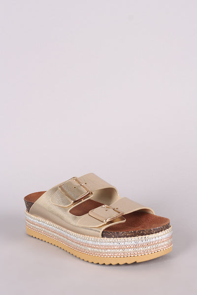 Metallic Flatform Sandal For Women By Bamboo | Women Fashion Metallic Double Buckle Flatform Ankle Strap Open Toe Sandals Flatform Ankle Strap Open Toe Sandals And Striped-Detail Cork Midsole Flatform Heel For Women